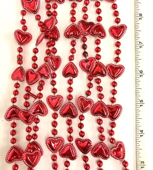 St. Valentine's Day Red Heart Shape Party Beads Plastic Necklaces Metallic 4/PK