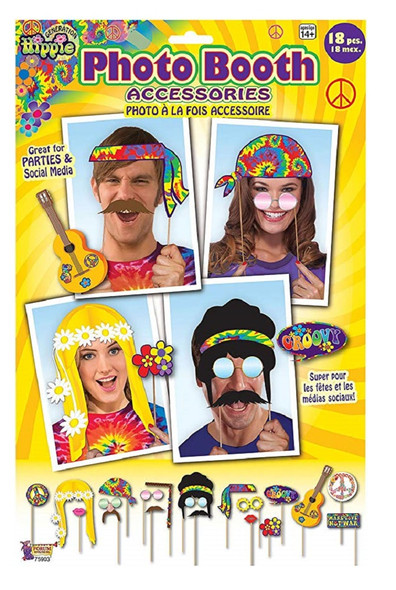 60s 70s Groovy Hippie Photo Booth Prop Kit Set Party Supplies Wedding 18PCS