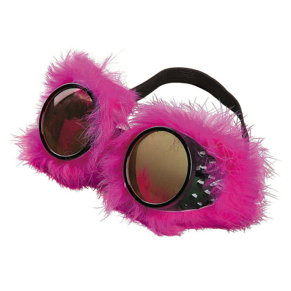 Neon Pink Fur Steampunk Goggles Cyber Punk Rave Fashion Burning Man Accessory