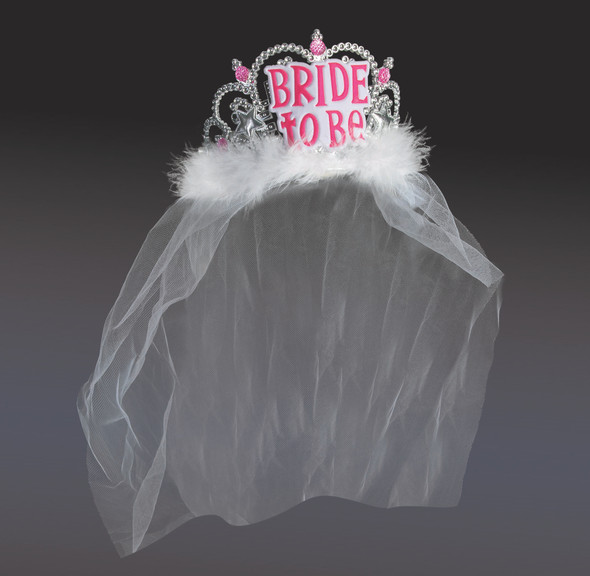 Bachelorette Party Bride To Be Plastic Tiara Headpiece with Veil Hens Night