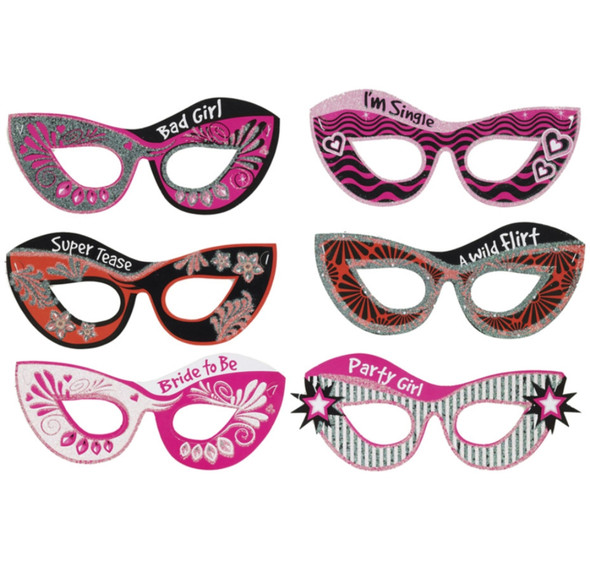 Set Of 6 Bachelorette Party Paper Eye Masks Fun Photo Booth Prop Supplies