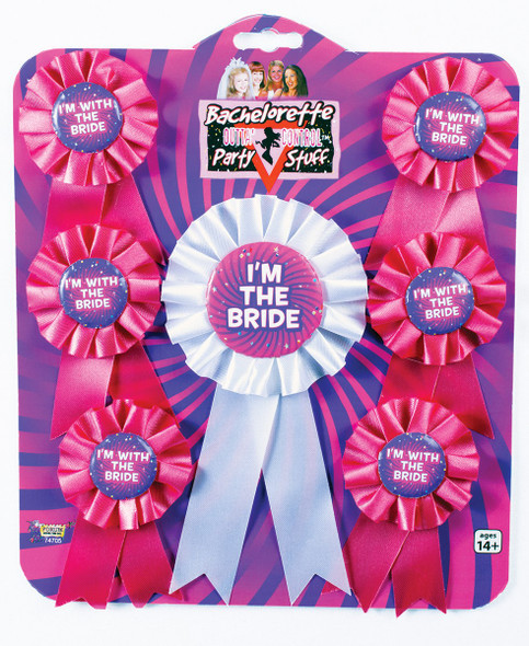Bachelorette Party Supply Award Ribbons Props Decorations I'm with The Bride 7PC
