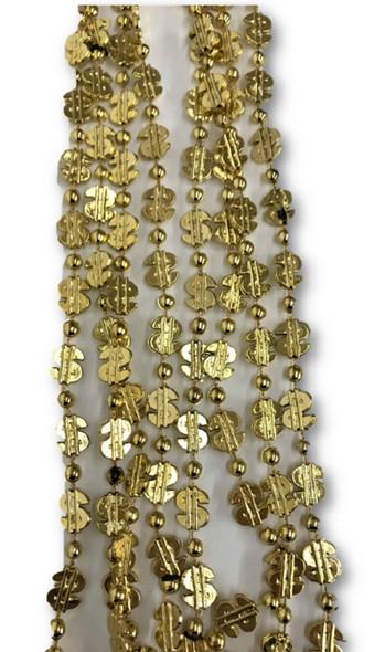 Dollar Sign Golden Mardi Gras Beads Beads Pimp Necklaces Metallic 4 pcs.