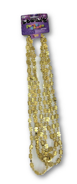 Dollar Sign Golden Mardi Gras Beads Beads Pimp Necklaces Metallic 4 pcs.