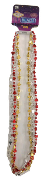 Casino Party Beads Plastic Necklaces Gold Red Silver Lucky Charms Metallic 3/PK