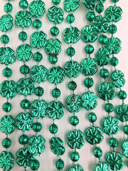 St. Patricks Day Shamrock Green Mardi Gras Beads Necklaces Metallic 4 pcs.