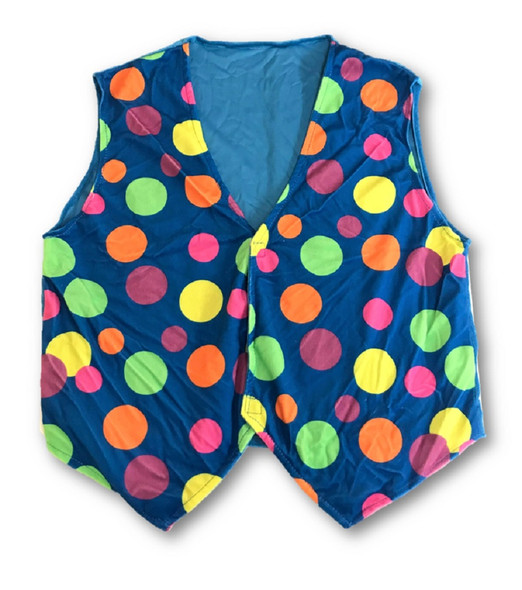 Mascot Blue Polka Dot Vest Adult Mascot Costume Accessory Color Soft Fleece XL