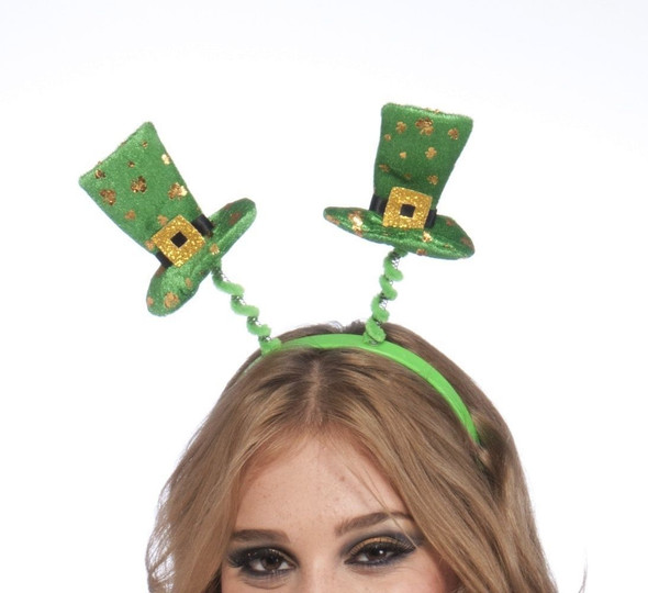 St. Patricks Day Irish Headband Green Gold Top Mini Hat Adult Children Shamrock