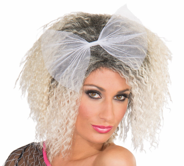 Retro 80s 90s Frizzed Crimped Madonna Blond Wig Costume Accessory Material Girl