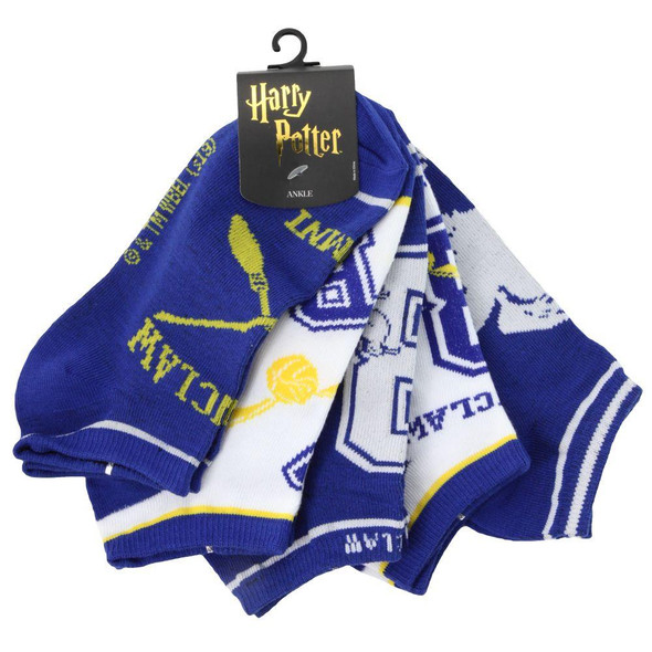 Harry Potter Ravenclaw Junior Ankle Socks Blue Footwear No Show 5 Pairs