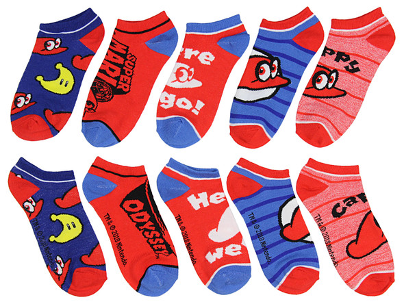 Nintendo Super Mario Bros. Odyssey Junior Ankle Socks Brothers Cappy Hat 5 Pairs