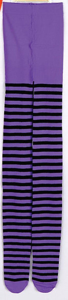 Striped Purple Black Tights Pantyhose Women Hosiery Witch Costume Accessories