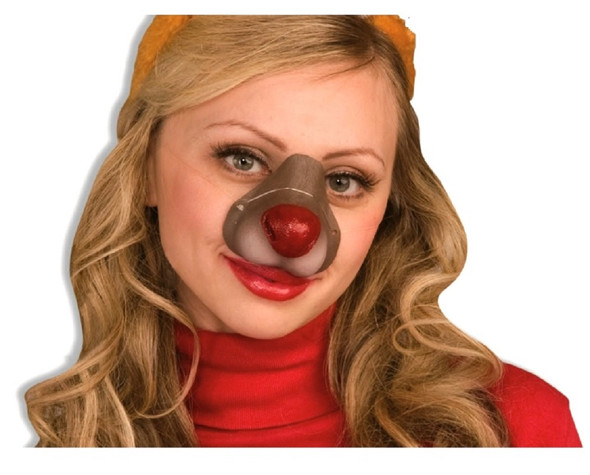 Brown Reindeer Rubber Red Nose Rudolph Costume Accessory Animal Children Adult