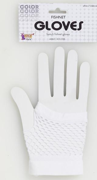 Short White 80s Fishnet Mesh Gloves Fingerless Club Retro Women Teens Glovelet