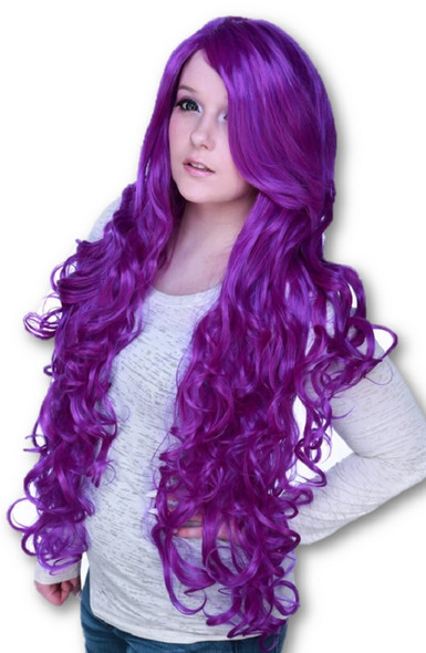 """Rockstar Quality 36"""" Long Curly Cosplay Costume Wig Purple Mix Heat Stylable"""