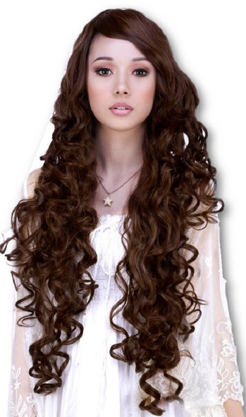 """Rockstar Quality 36"""" Long Curly Cosplay Costume Wig Brown Mix Heat Stylable"""
