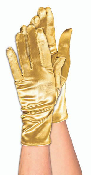 Gold Satin Short Adult Gloves Theatrical Fashion Halloween Costume Accessory