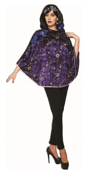 Celestial Poncho Velvet Stars Sun Moon Adult Womens Halloween Costume Accessory