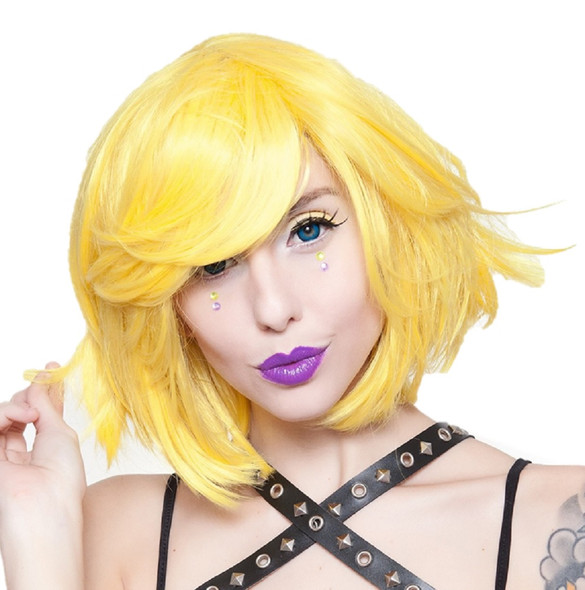 """Rockstar Quality Hologram 12"""" Short Cosplay Costume Wig Bright Yellow Stylable"""