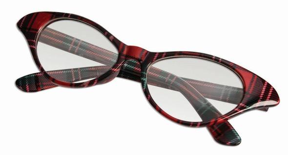 Retro 1950's Nerd Glasses Plaid Frames Womens Cat Eyes Adult Costume Accessory