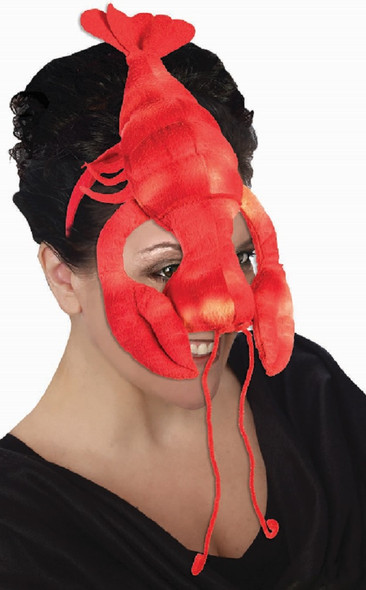 Red Lobster Face Mask Headband Under The Sea Claws Funny Adult Costume Accessory