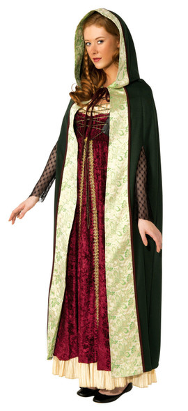 Green Camelot Long Hood Cape Adult Costume Medieval Renaissance Accessory Cloak