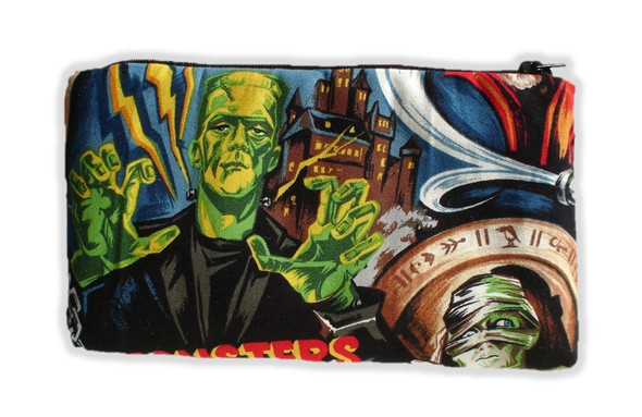 Horror Movie Monsters Pouch Wallet Make-up Bag Coin Purse Frankenstein Mummy