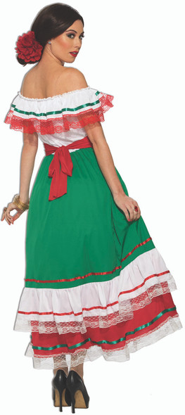 Mexican Fiesta Costume Fancy Dress Womens Day Of The Dead  XS-Plus Size