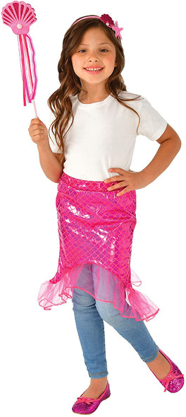 Pink Mermaid Tail Costume Role Play Set Child Boys Girls Wand Headband Kids 8-10