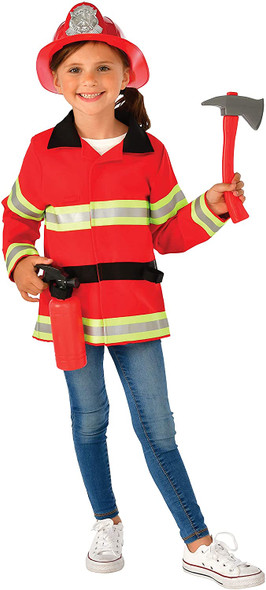 Fire Fighter Costume Role Play Set Child Boys Girls Fireman Extinguisher 8-10