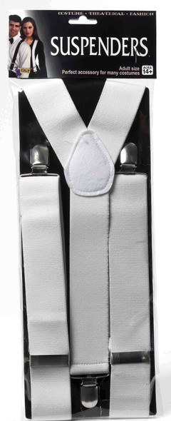 Men's Solid White Adult Suspenders Christmas Costume Accessory One Size