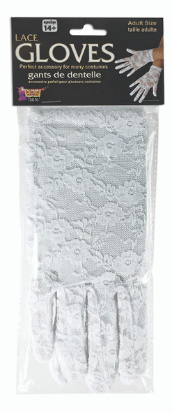 Short White Lace Gloves Bridal 1980s Retro Womens Costume Accessory