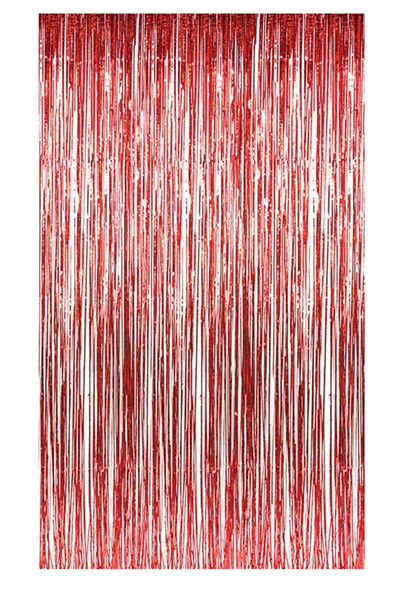 "Metallic Red Foil Doorway Tinsel Curtain Backdrop 1 pc. 8ft x 37"" Decoration"