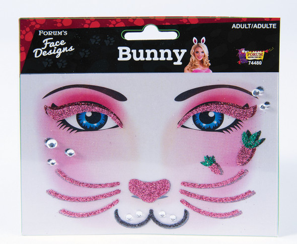 Pink Bunny Rabbit Face Art Design Adult Facial Easter Animal Costume Accessory