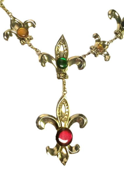 Fleur De Lys Costume Jewelry Necklace Chain Gold Womens Mardi Gras Accessory New