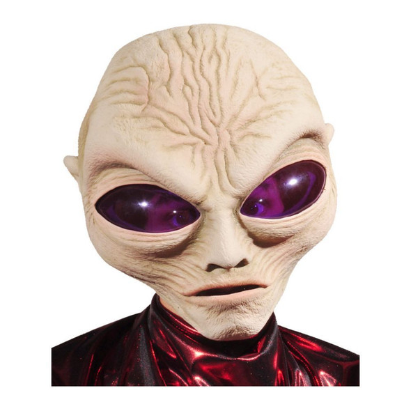 Alien Mask Gray Purple Eyes Roswell Latex Brain Halloween Costume Space Prop