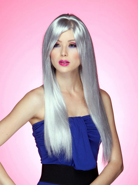 High Quality Blush Divine Costume Wig Chrome Grey Silver Womens X-Long Straight