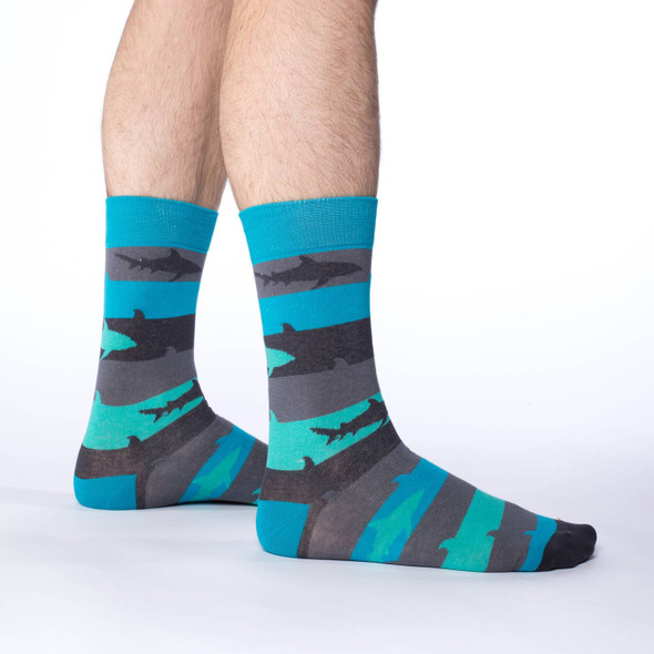 Good Luck Sock Aqua Shark Week Crew Socks Adult Shoe Size 7-12 Striped Jaws Fish