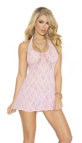 Elegant Moments Soft Pink Babydoll Halter Lace Mini Dress Chemise Lingerie Queen