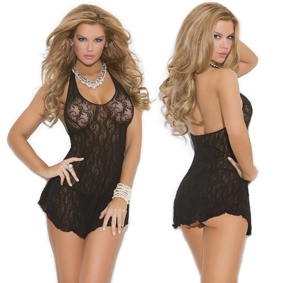 Elegant Moments Black Babydoll Halter Lace Mini Dress Chemise Lingerie O/S New