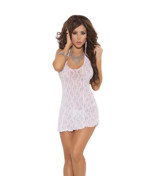 Elegant Moment White Babydoll Halter Lace Mini Dress Chemise Lingerie Queen New