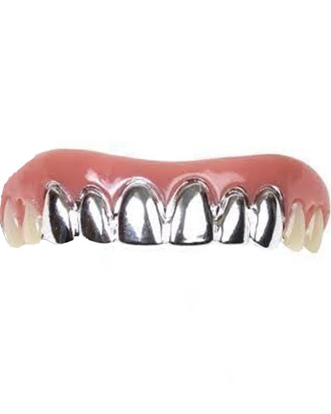 Billy-Bob Silver Platinum Grillz Pimp for Hip Hop Bling Fake Teeth Custom Fit