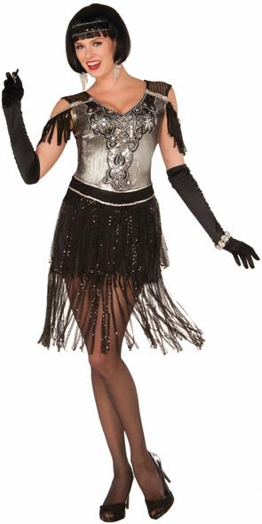 Women's Enchanted Roaring 20's Black and Silver Flapper Costume Fancy Dress