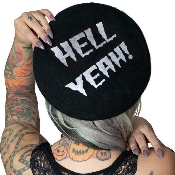 Kreepsville 666 Horrorpops Hell Yeah Black Beatnik Beret Gothic Wear