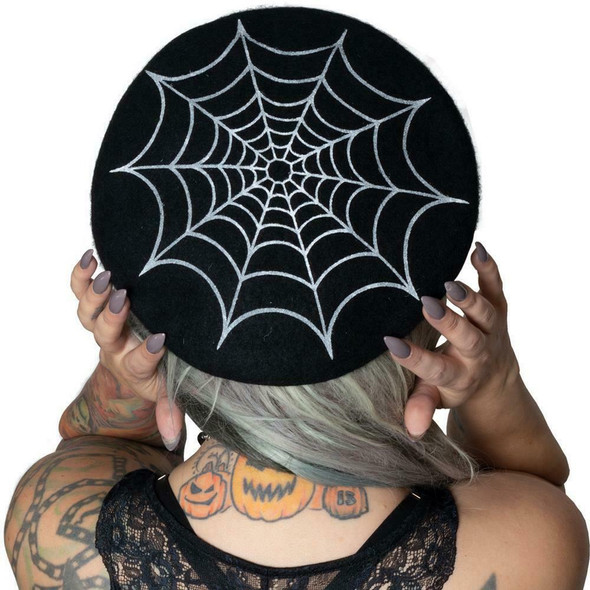 Kreepsville 666 White Spider Web on Black Beret Hat Adult Beatnik Gothic Wear
