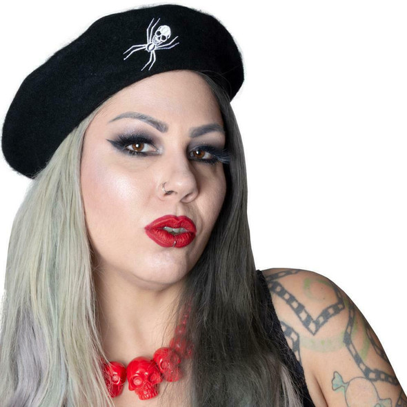 Kreepsville 666 White Spider Web on Black Beret Hat Adult Beatnik Gothic Wear