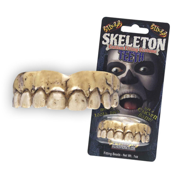 Billy Bob Skeleton Fake Teeth Custom Fit with Fitting Beads Aged Zombie Look New