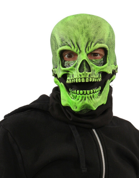 Zagone Studios UV Reactive Green Glow Sock Skull Adult Halloween Skeleton Mask
