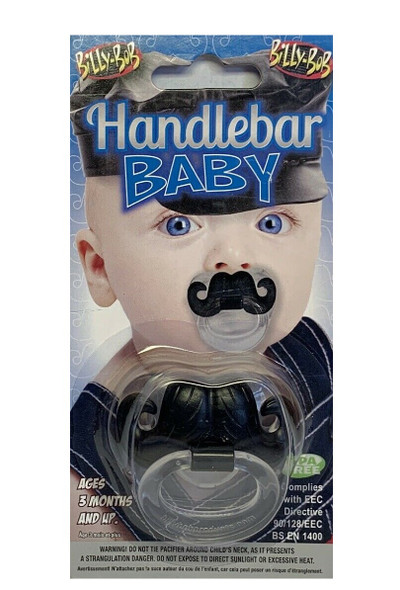 Billy Bob Handlebar Mustache Baby Pacifier Teeth Orthodontic Nipple Safe Novelty