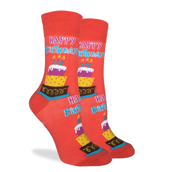 Good Luck Sock Adult Shoe Size 5-9 Happy Birthday Crew Sox Orange Candles Cake